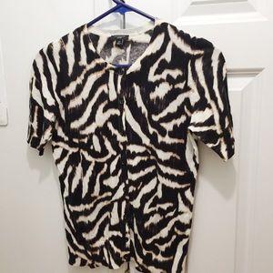 Ann Taylor Petite Cardigan Sweater Animal Print